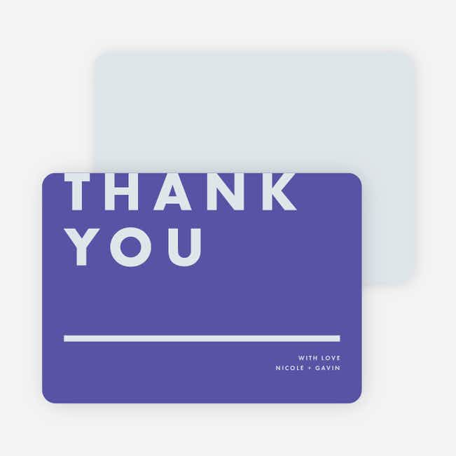 Today's Modernist Wedding Thank You Cards - Purple