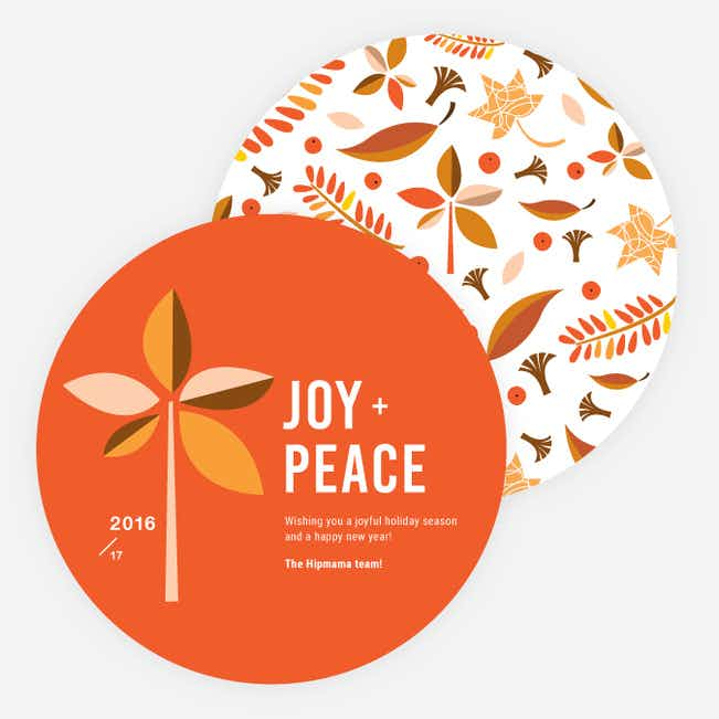 Vintage Leaves Holiday Cards - Orange
