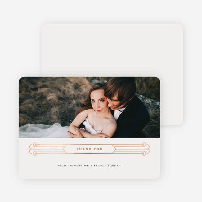 Art Deco Wedding Thank You Cards - Beige