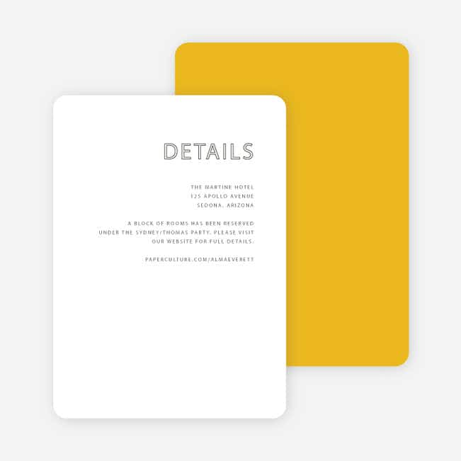 Color Up Wedding Direction Cards - Yellow