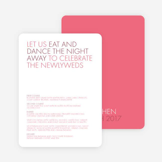 All Caps Wedding Menus - Pink