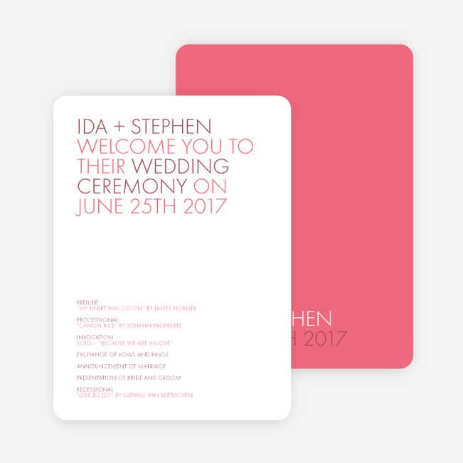 All Caps Wedding Programs - Pink