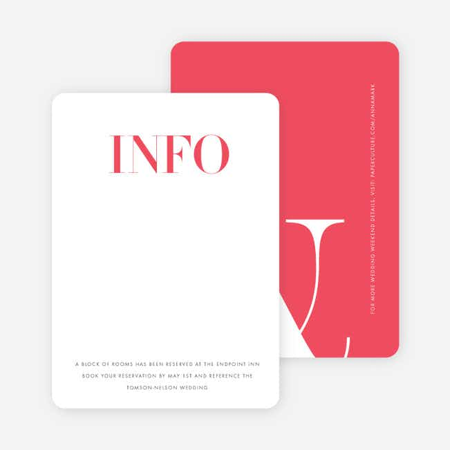 Ampersand Wedding Direction Cards - Red
