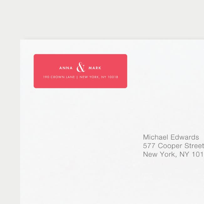ampersand wedding return address labels paper culture