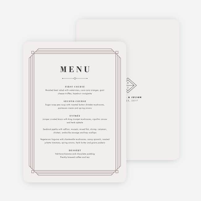 Art Deco Wedding Menus - Beige