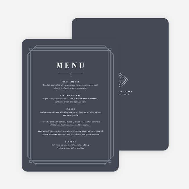 Art Deco Wedding Menus - Blue