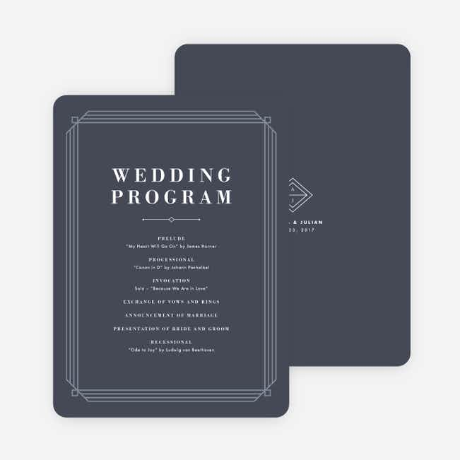 Art Deco Wedding Programs - Blue