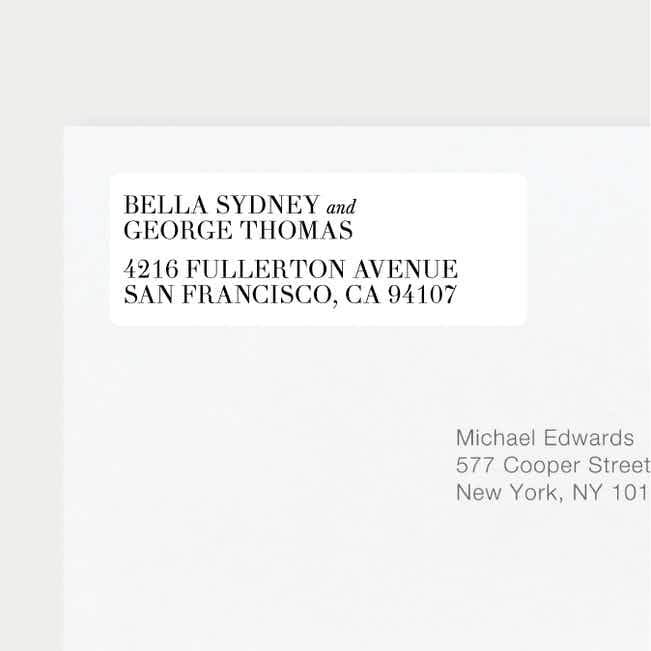 Botanical Bliss Wedding Return Address Labels - Black