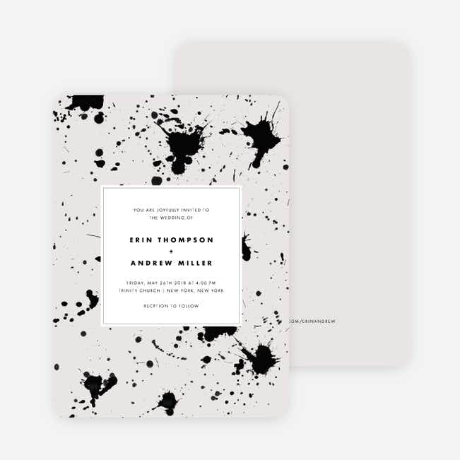 Brush Splash Wedding Invitations - Beige