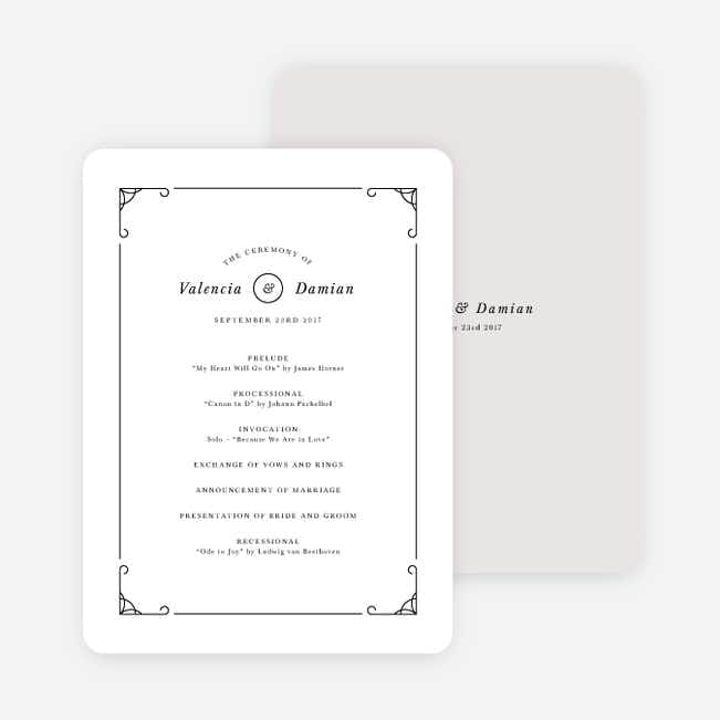 Classically Chic Wedding Programs - Black