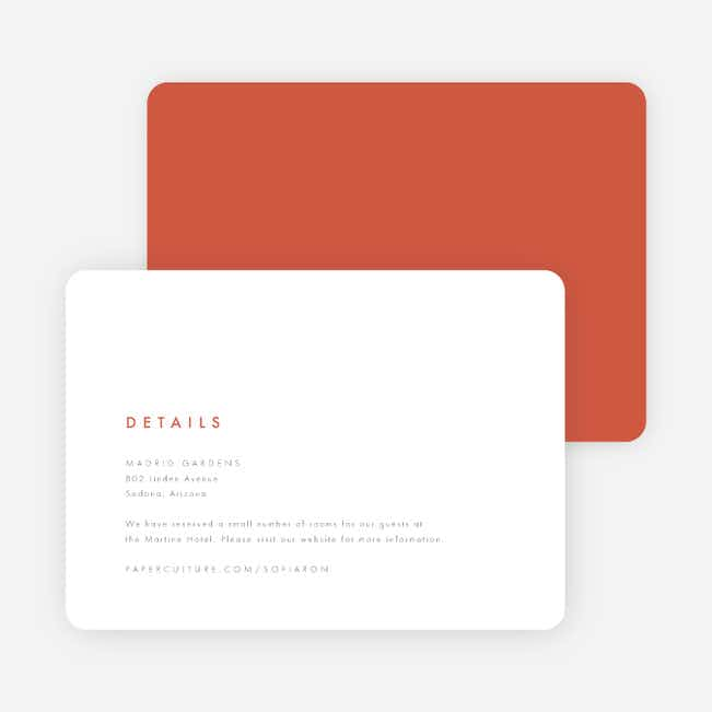 Color Pop Wedding Direction Cards - Red