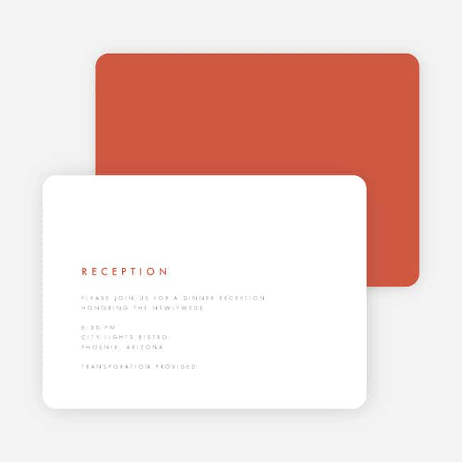 Color Pop Wedding Reception Cards - Red