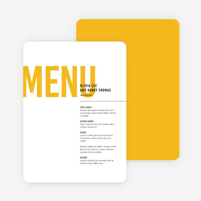 Color Type Wedding Menus - Yellow