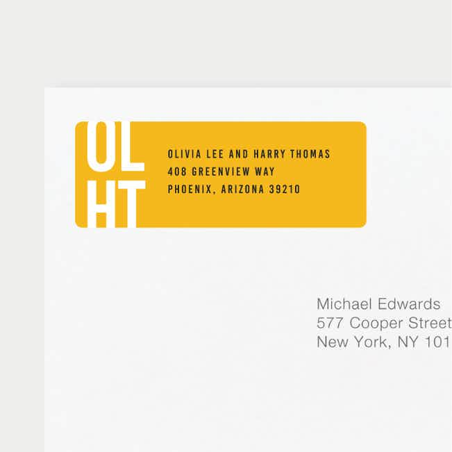 Color Type Wedding Return Address Labels - Yellow
