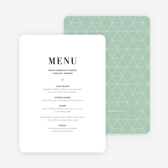 Converging Paths Wedding Menus - Green