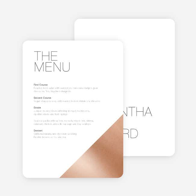 Cornerstones of Bliss Wedding Menus - White