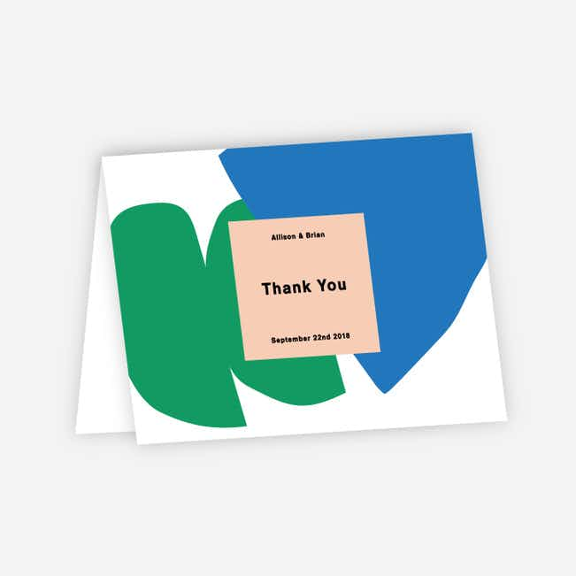 Paper Cuts Wedding Thank You Cards - Green