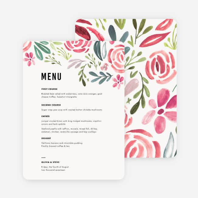 Floral Water Colors Wedding Menus - Red