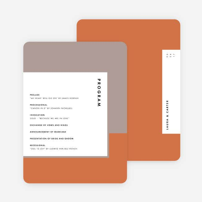 Foil Blocks Wedding Programs - Orange