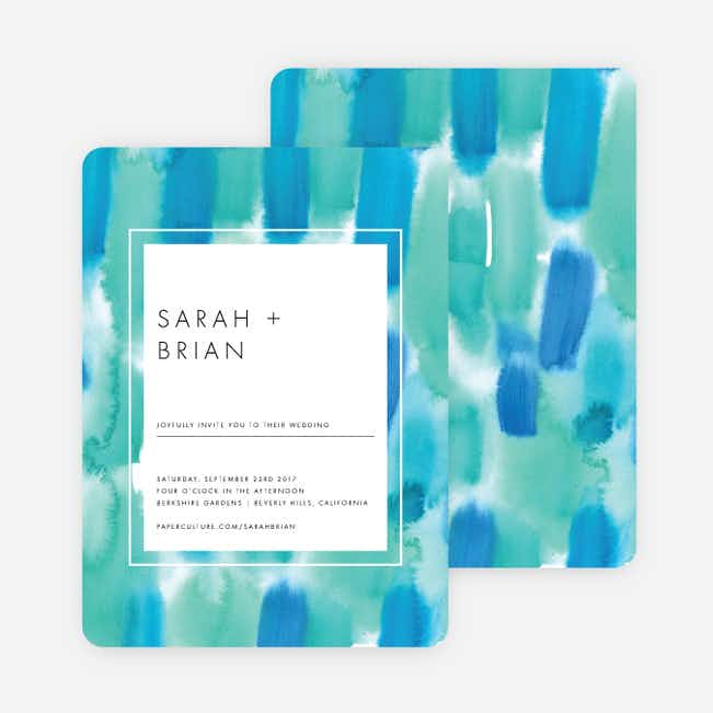Infused Watercolors Wedding Invitations - Green