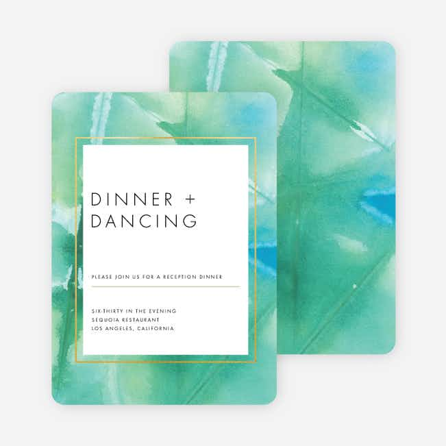 Infused Watercolors Wedding Reception Cards - Blue