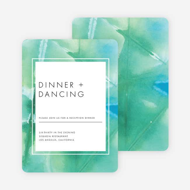 Infused Watercolors Wedding Reception Cards - Green