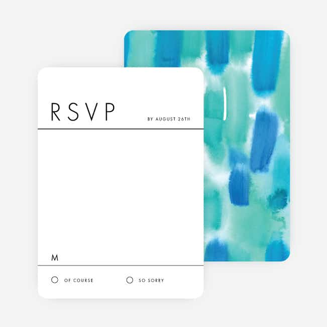 Infused Watercolors Wedding Response Cards - Green