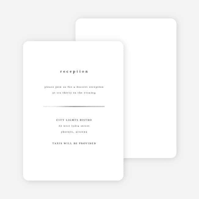 Less is More Wedding Reception Cards - White