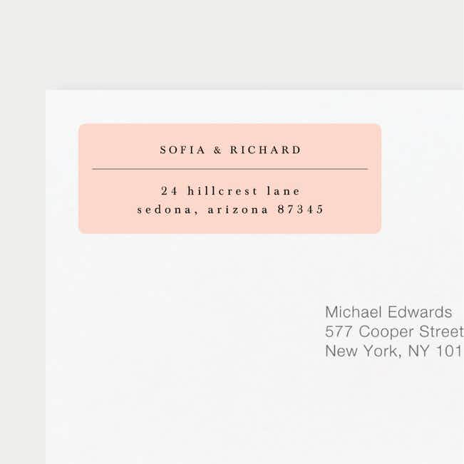 Less is More Wedding Return Address Labels - Pink