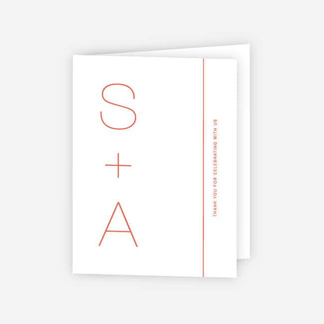 Simply Type Wedding Thank You Cards - Red