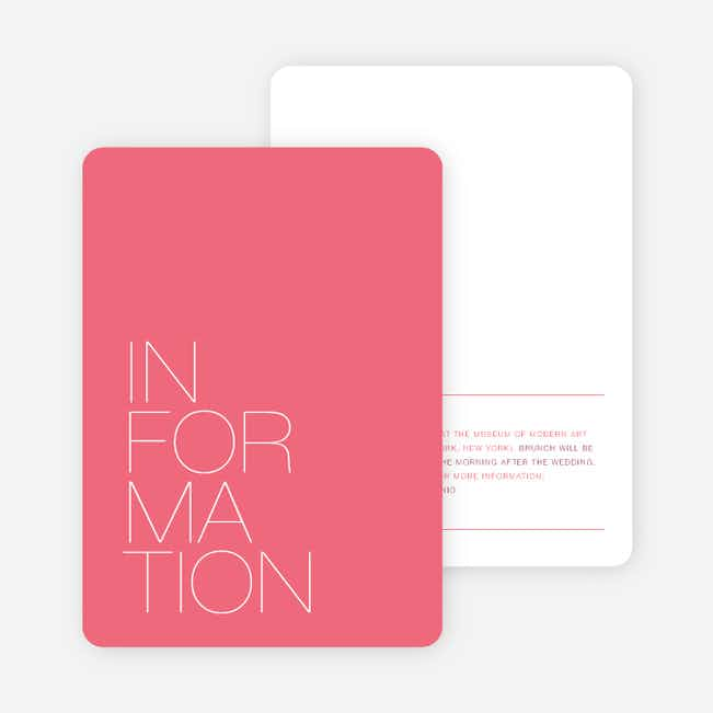 Stacked Type Wedding Direction Cards - Pink