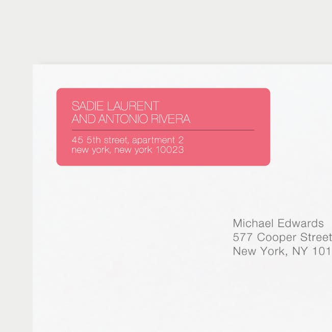 stacked type wedding return address labels paper culture