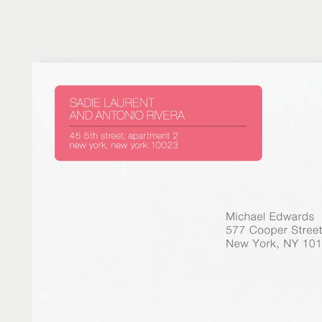Stacked Type Wedding Return Address Labels - Pink