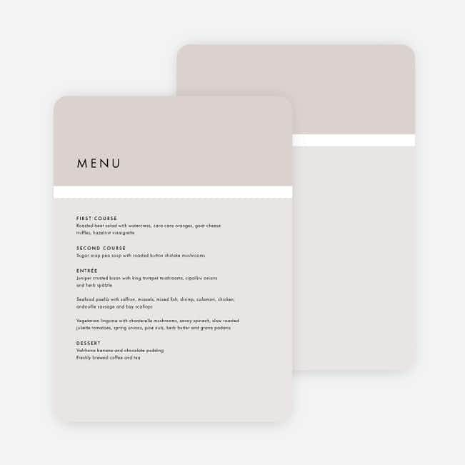 Stripe It Wedding Menus - Beige