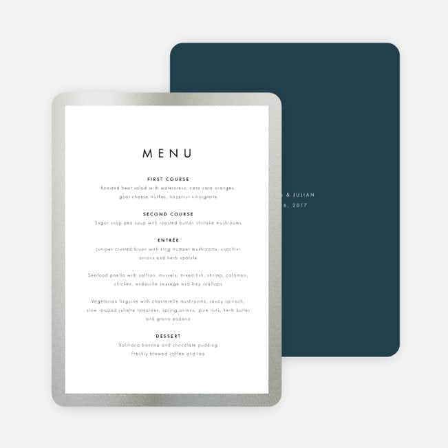 Wedding Frame of Mind Wedding Menus - Blue