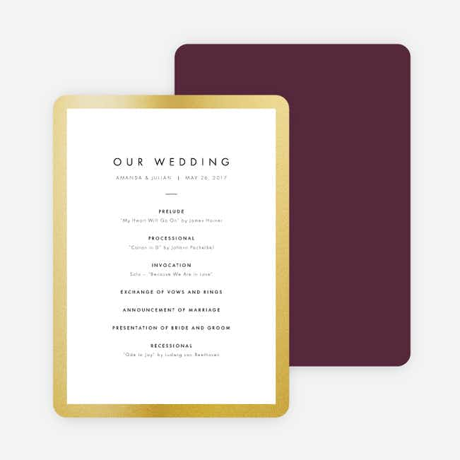 Wedding Frame of Mind Wedding Programs - Purple