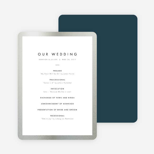 Wedding Frame of Mind Wedding Programs - Blue