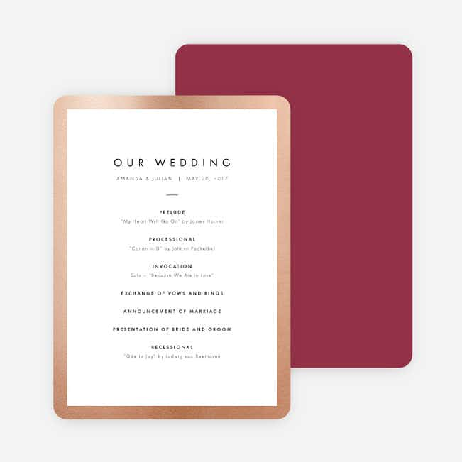 Wedding Frame of Mind Wedding Programs - Red