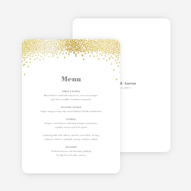 Confetti of Joy Wedding Menus - White
