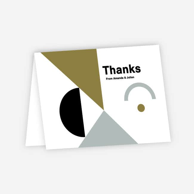 Shape Art Wedding Thank You Cards - Green