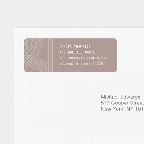 brown wedding return address labels paper culture