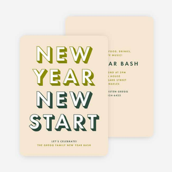 Big Bash New Year Cards - Green