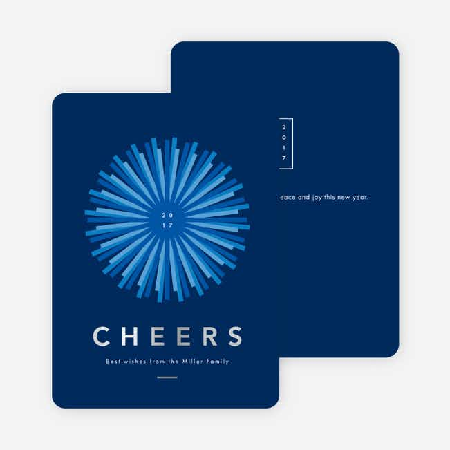 Foil Shine Bright New Year Cards - Blue