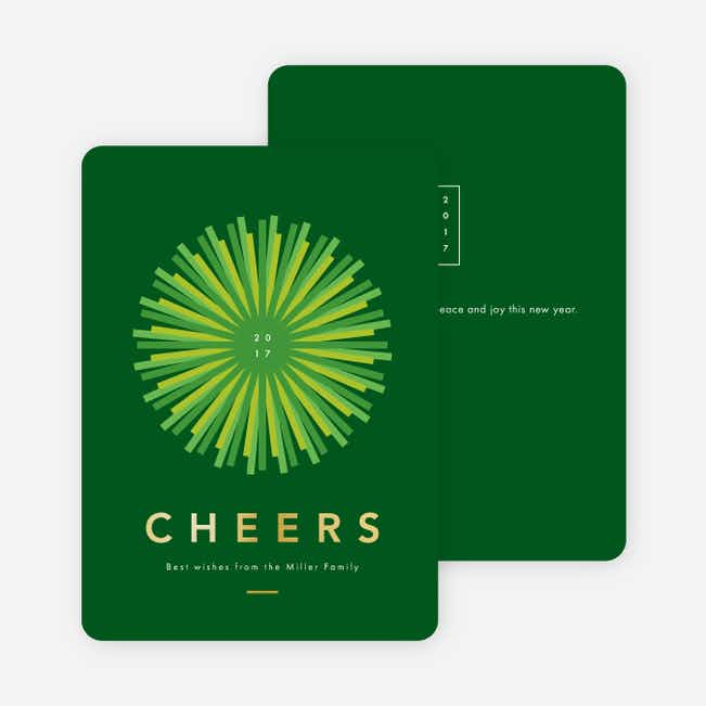 Foil Shine Bright New Year Cards - Green