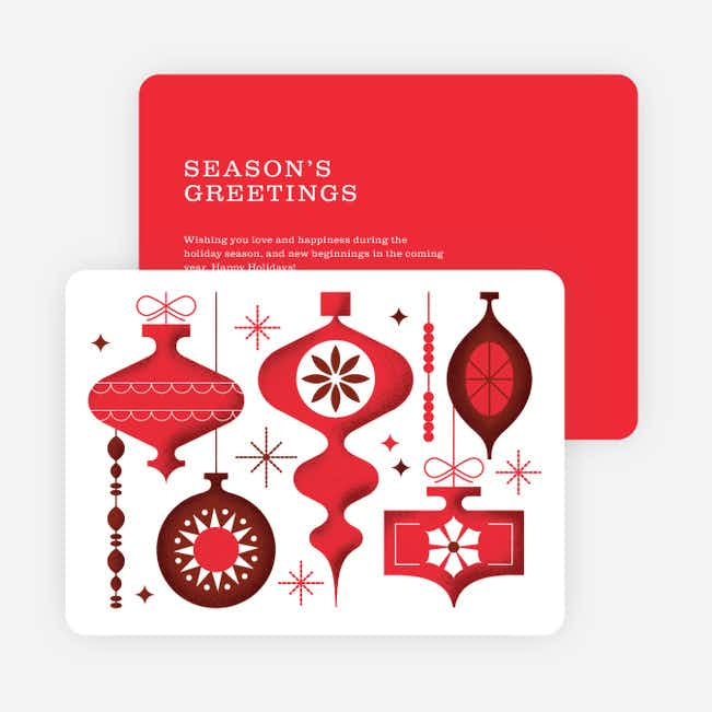 Hanging Ornaments Christmas Cards - Red