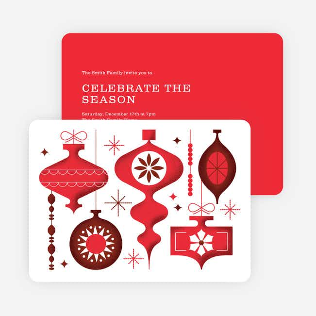 Ornament Celebration Holiday Invitations - Red