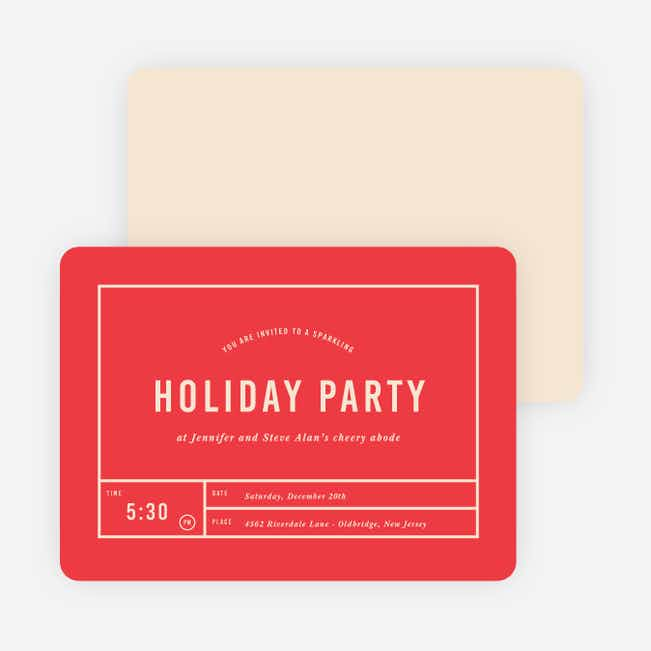 Party Grid Holiday Invitations - Red