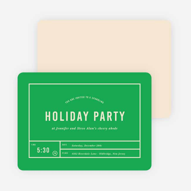 Party Grid Holiday Invitations - Green