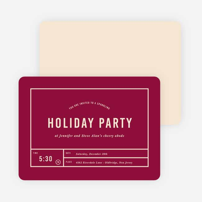Party Grid Holiday Invitations - Purple