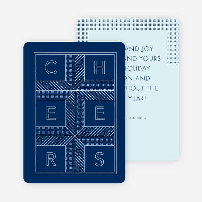 Square Cheers New Year Cards - Blue